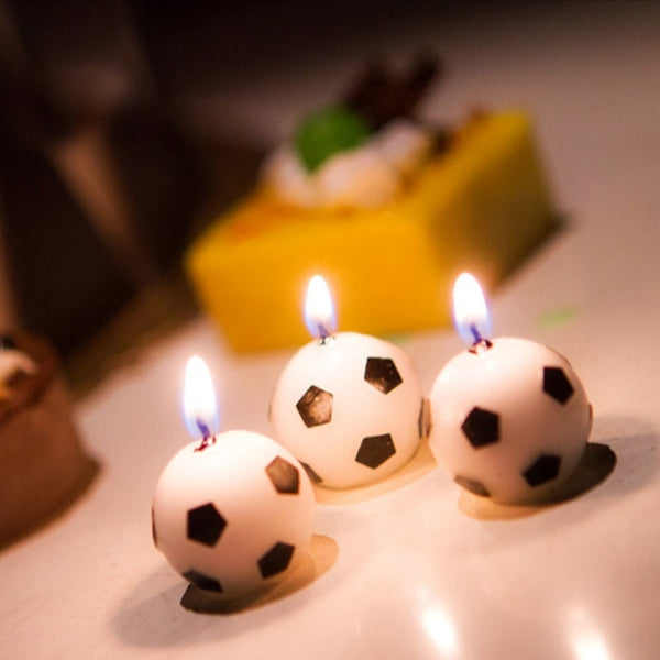 6Pcs/Set Soccer Ball Football Candles For Birthday Party Kid Supplies Decoration