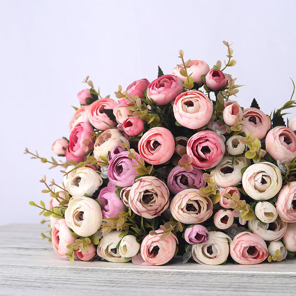 European Vintage Artificial Silk Tea Rose Flowers 6 head 4 Small bud Bouquet Wedding Home Retro Fake Flower Party DIY Decoration