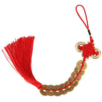 OOTDTY Traditional Chinese Knot Feng Shui Lucky Wealth 3/6/8/9/10 Coins Mascot Handmade For Home Car Hanging Tassel Decoration