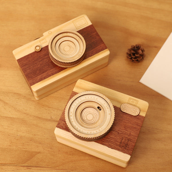 1pcs Creative Wooden Camera Music Box Fashion Classic Model Kids Birthday Gift Home Decoration Crafts For Women
