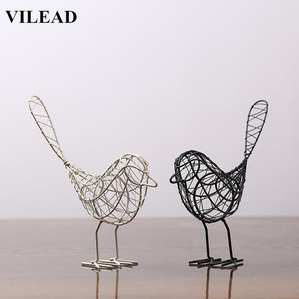 VILEAD Iron Bird Figurines Abstract Bird Miniatures Vintage Animal Figurine Home Decoration Creative Gift Souvenirs Room Decor