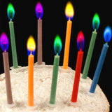 Birthday Party Supplies  12pcs/pack Wedding Cake Candles Safe Flames Dessert Decoration Colorful Flame Multicolor Candle