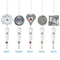Wind Chime Mirror Reflective Metal Wire Crystal Ball Wind Bell for Home Garden Decoration E2S