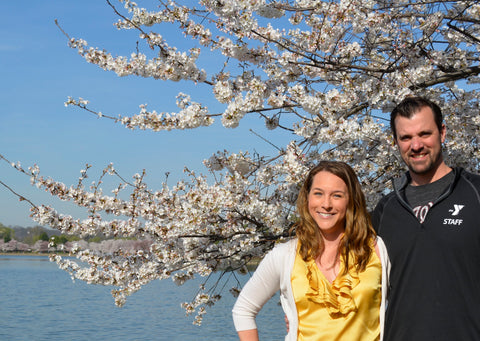 Tiffany and Steve in Front of Cherry Blossoms