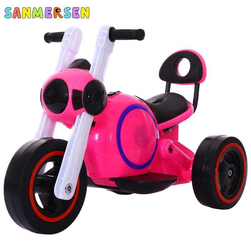 Children's Electric Tricycle Motorcycle Cool Lighting Charging Motorcar Baby Three Wheels Bike Ride On Cars For Kids 2-6 Years