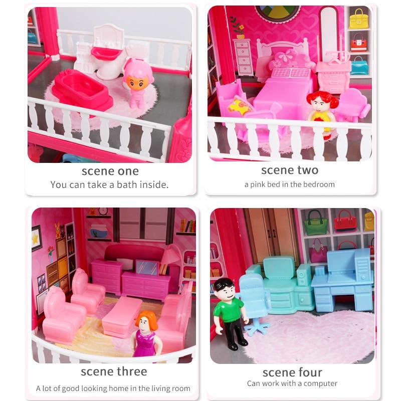 Baby DIY Doll house Toys Pink Assemble Princess Villa Handmade Construction Casa Miniature Furniture Dollhouse For Children Gift