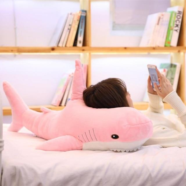 140cm Giant Shark Plush Toy Soft Stuffed Speelgoed Animal Reading Pillow for Birthday Gifts Cushion Doll Gift For Children