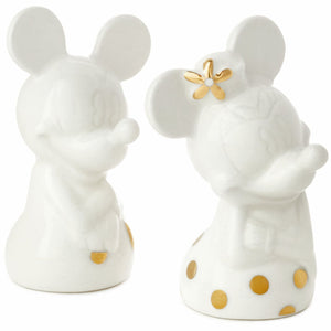 Hallmark Disney Mickey and Minnie White and Gold Salt and Pepper Shakers, Set of 2