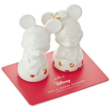 Load image into Gallery viewer, Hallmark Disney Mickey and Minnie White and Gold Salt and Pepper Shakers, Set of 2