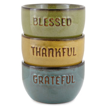 Load image into Gallery viewer, Hallmark Grateful Thankful Blessed Glazed Ceramic Bowls, Set of 3