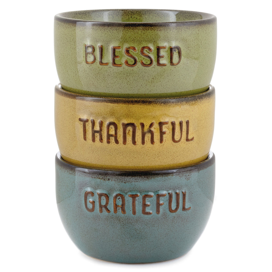 Hallmark Grateful Thankful Blessed Glazed Ceramic Bowls, Set of 3