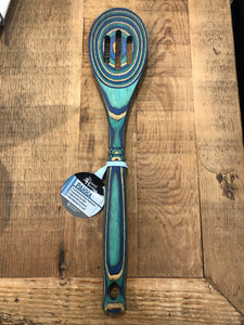 "Island Bamboo 12"" Wooden Slotted Spoon - Peacock"