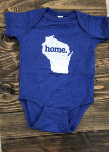 "Home State Wisconsin ""Home"" Baby Bodysuit - Royal Blue"