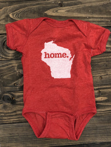 "Home State Wisconsin ""Home"" Baby Bodysuit - Red"