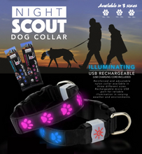 Load image into Gallery viewer, Night Scout Rechargeable LED Dog Collar - Blue