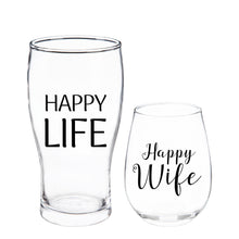 Load image into Gallery viewer, Evergreen Stemless Wine & Beer Glass Gift Set, Happy Wife/Happy Life