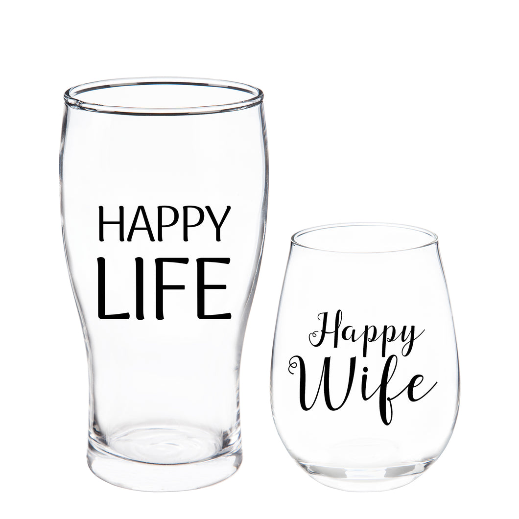 Evergreen Stemless Wine & Beer Glass Gift Set, Happy Wife/Happy Life