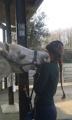 "Arabian ""Spanish Silver"" with EE working student Tallulah"