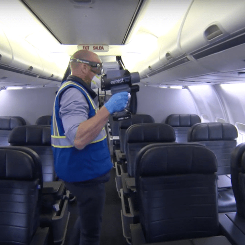United Airlines is using EMist's electrostatic technology to keep customers safe.