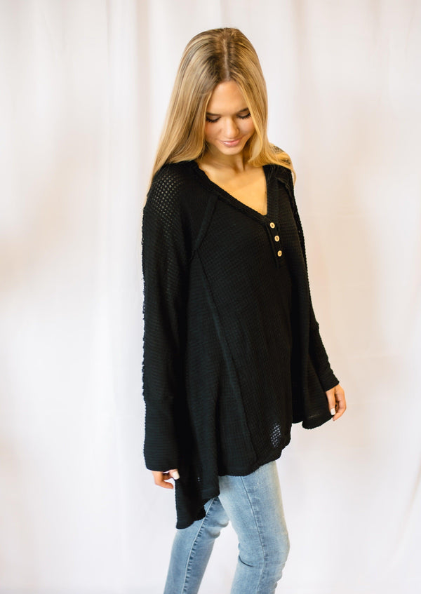 TRY AGAIN WAFFLE KNIT TOP | BLACK