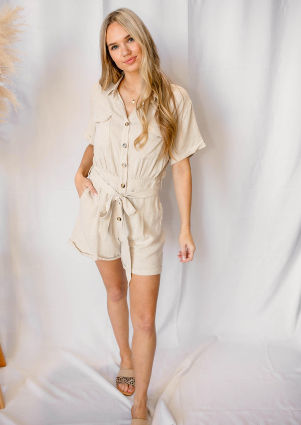 DAY DREAMING BUTTON DOWN ROMPER | OATMEAL