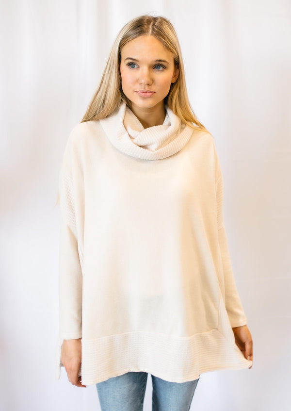 SET THE TONE COWL NECK SWEATER | OATMEAL