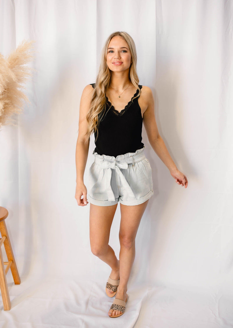 SPRING FLING PAPER BAG SHORTS | LIGHT DENIM