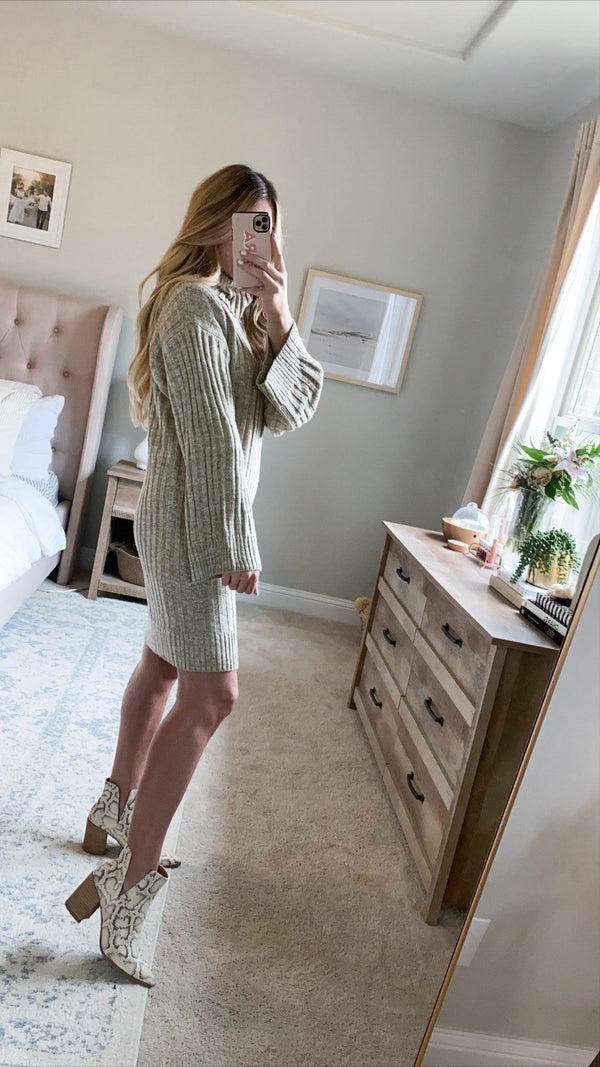 FALL-ING FOR YOU COWL NECK SWEATER DRESS | TAUPE