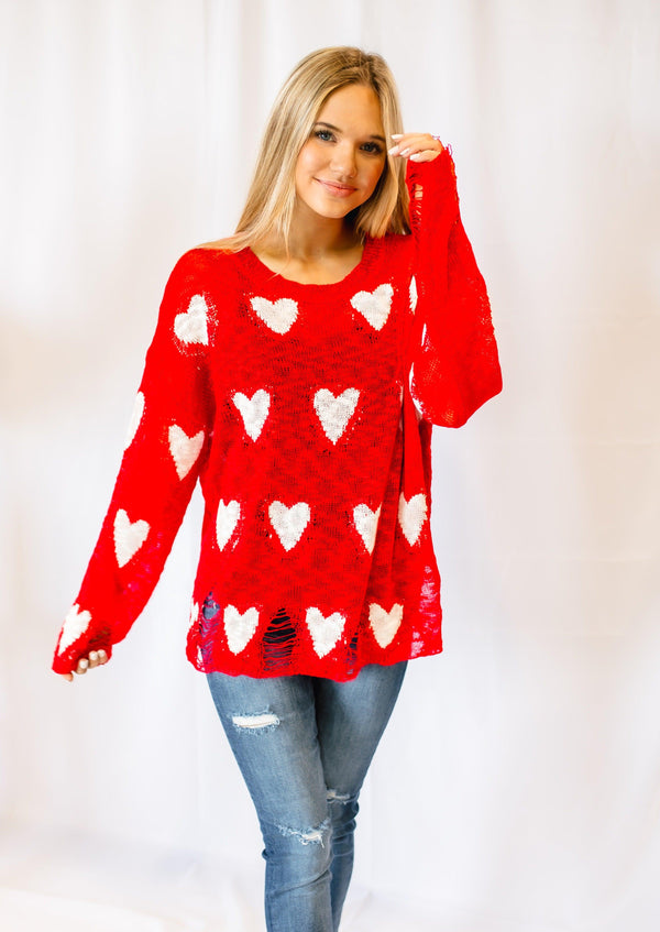 TAKEN DISTRESSED HEART LONG SLEEVE