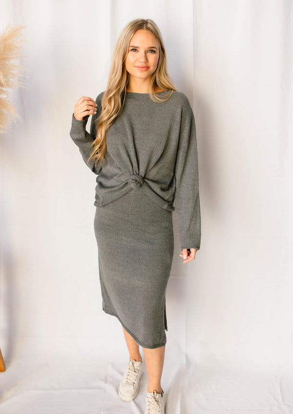 BETTER TOGETHER MIDI SKIRT & SWEATER SET | CHARCOAL