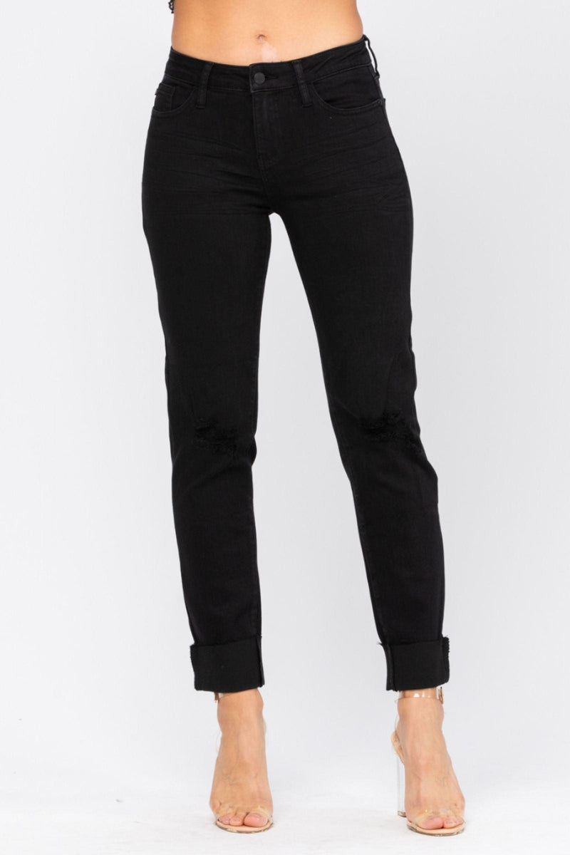 BLACK MID-RISE DESTROYED SLIM FIT JEANS | JUDY BLUE