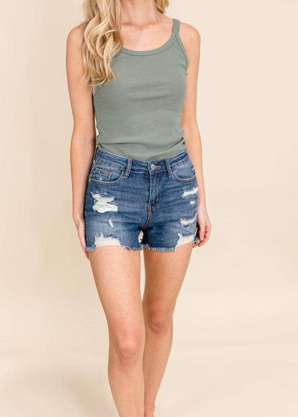 DESTROYED CUT OFF DENIM SHORTS | JUDY BLUE