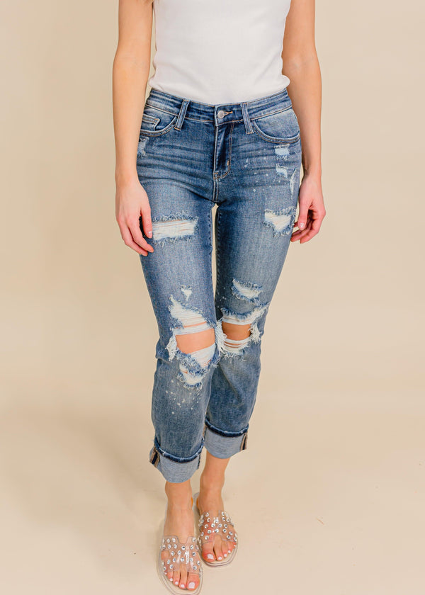 MID-RISE BOYFRIEND BLEACH SPLATTER DENIM | JUDY BLUE