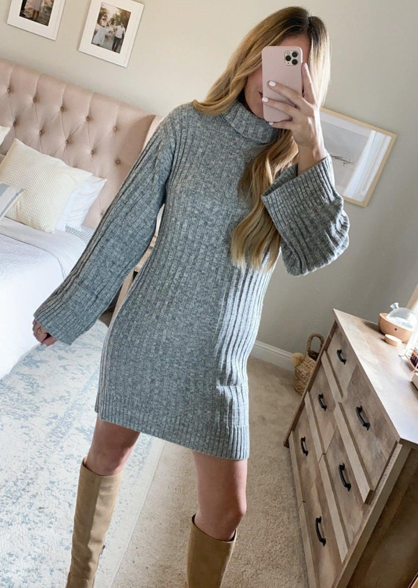 FALL-ING FOR YOU COWL NECK SWEATER DRESS | GREY