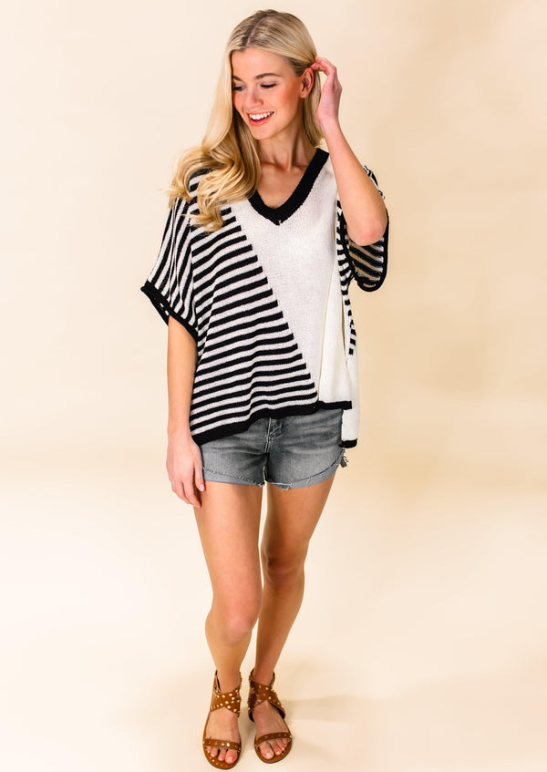 TIME AFTER TIME STRIPED TOP | BLACK