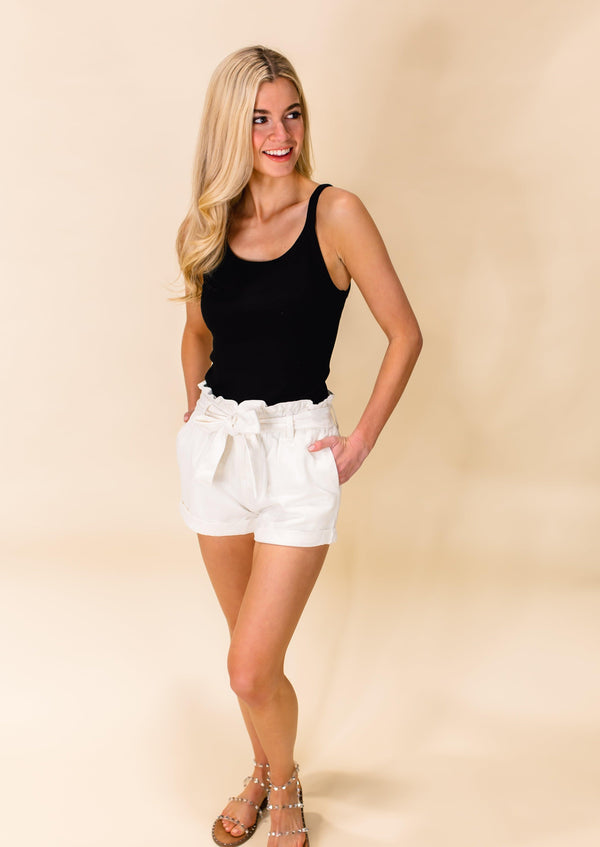 SPRING FLING PAPER BAG SHORTS | WHITE DENIM