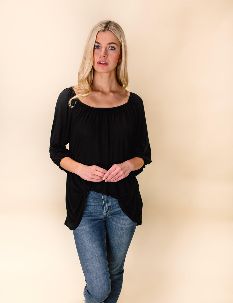 OVER YOU TUNIC TOP | BLACK