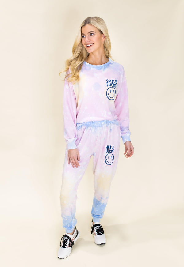CHASE YOUR DREAMS TIE DYE SMILE PANTS