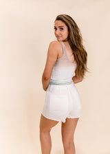 PATCH POCKET HIGH RISE WHITE DENIM SHORTS