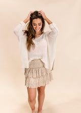 DATE DAY RUFFLE MINI SKIRT | GOLDEN FLORAL