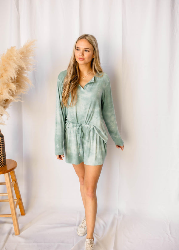 DON'T BLINK TIE-DYE  LOUNG SET | SAGE