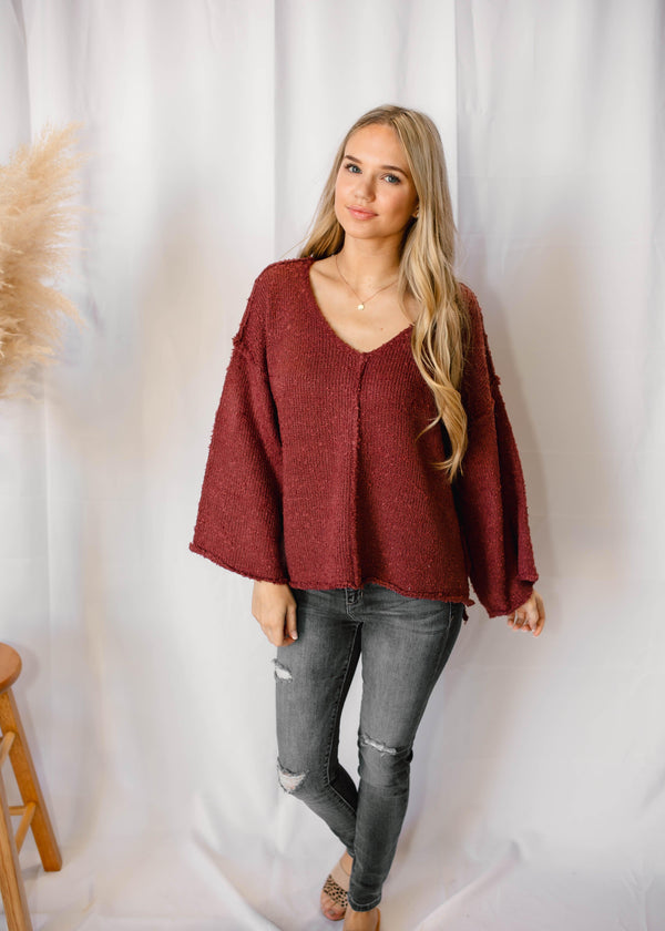 RUSTIC WINE BELL SLEEVE SWEATER