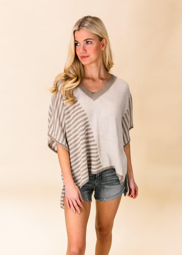 TIME AFTER TIME STRIPED TOP | BEIGE