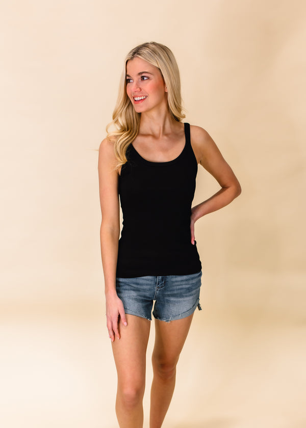 TYPICALLY BASIC RIBBED TANK TOP | BLACK