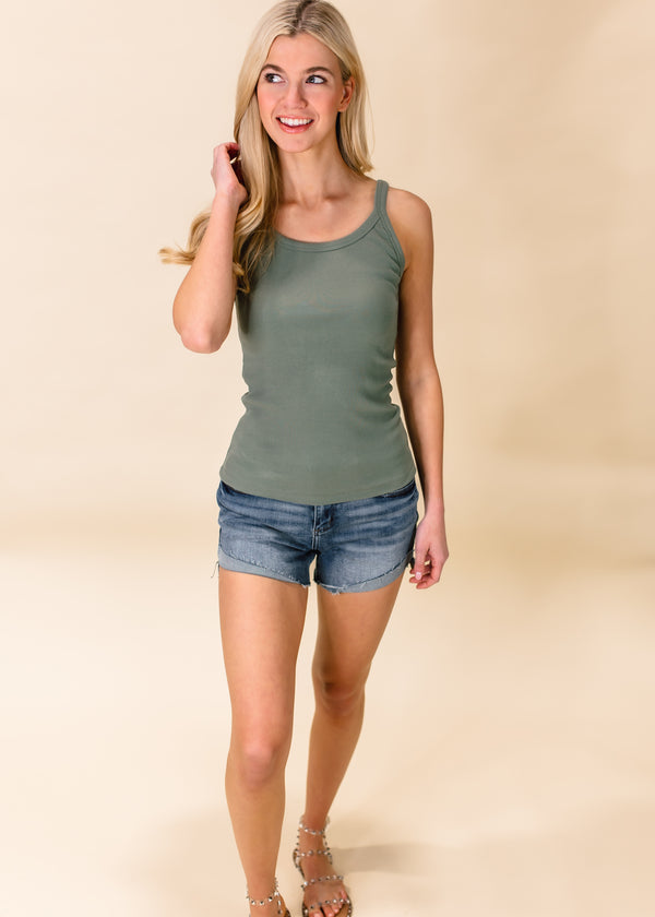 TYPICALLY BASIC RIBBED TANK TOP | OLIVE