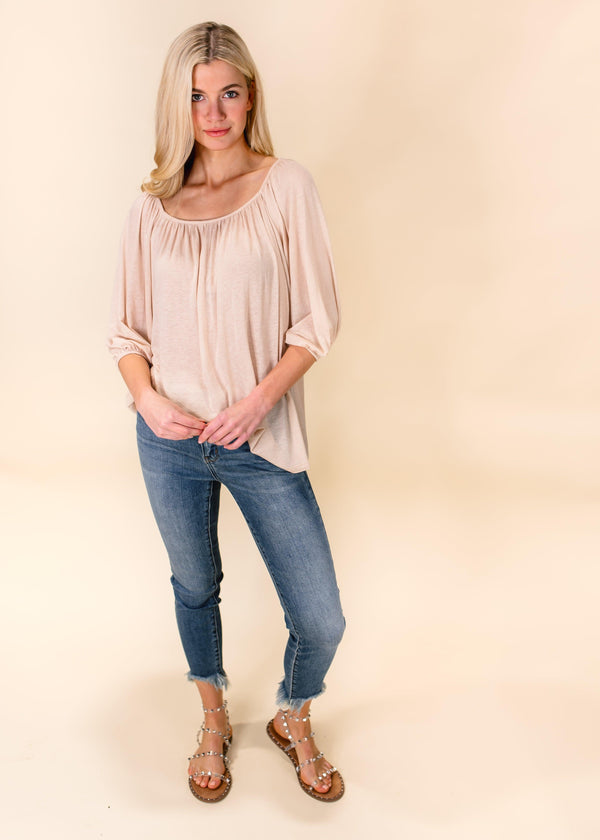 OVER YOU TUNIC TOP | ALMOND