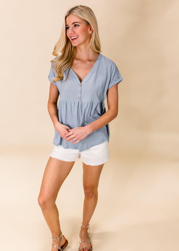 SPEAK YOUR MIND BABY DOLL TOP | BLUE