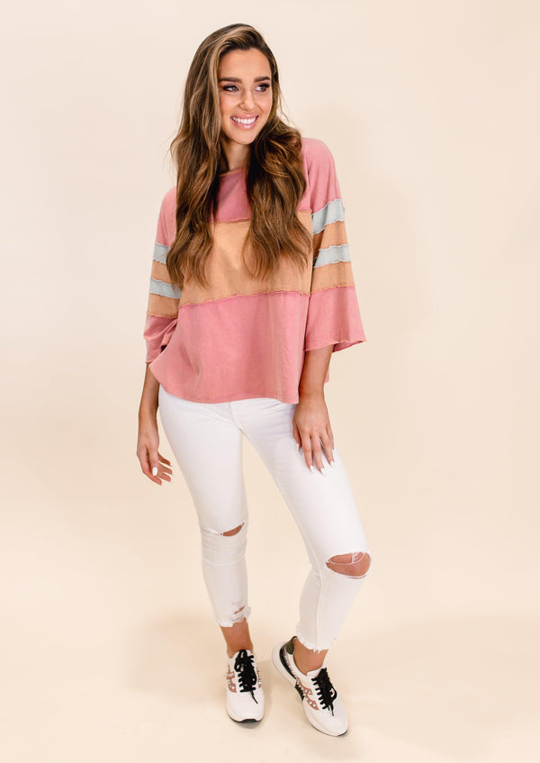 SHE'S A WINNER COLOR BLOCK TOP