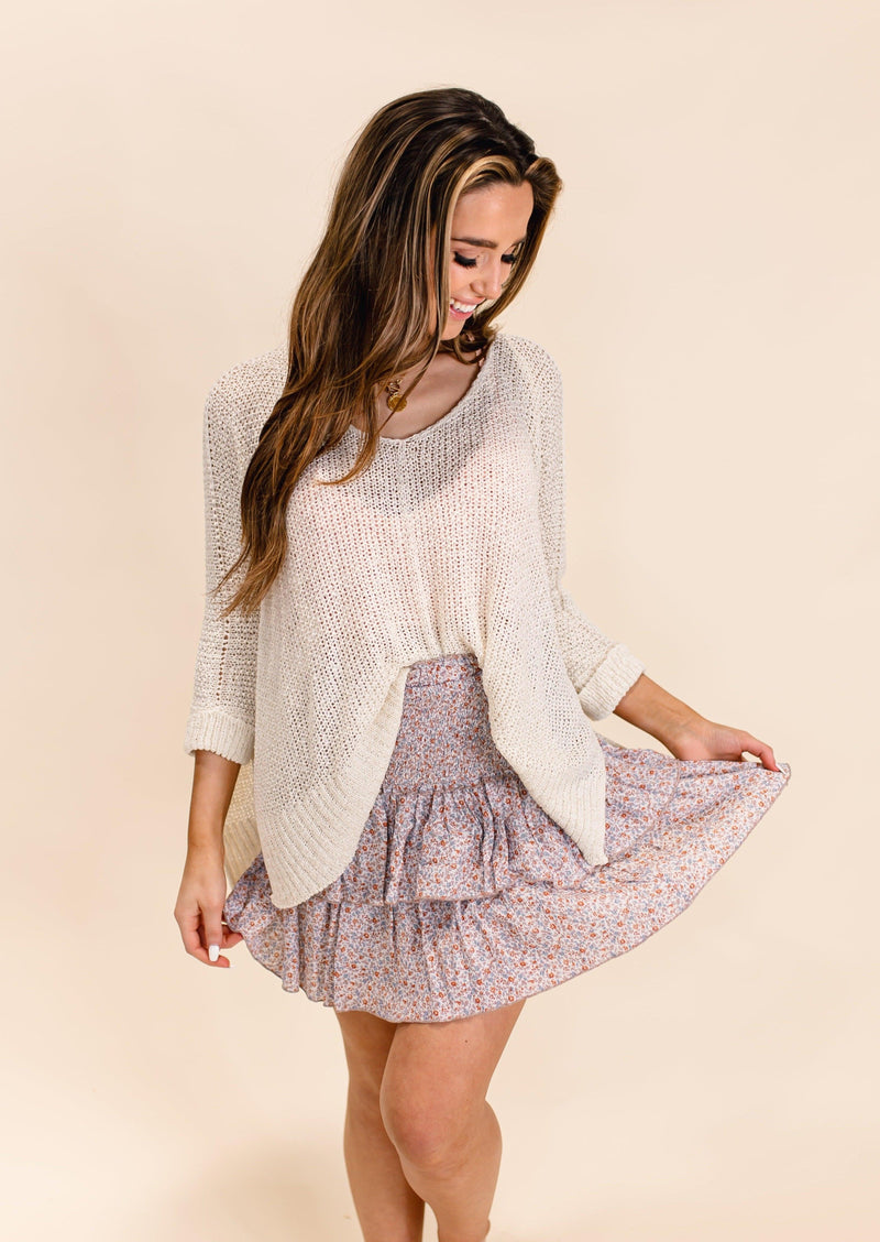 DATE DAY RUFFLE MINI SKIRT | LAVENDER FLORAL