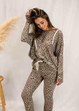 MAYBE LATER LEOPARD HOODED LOUNGE SET